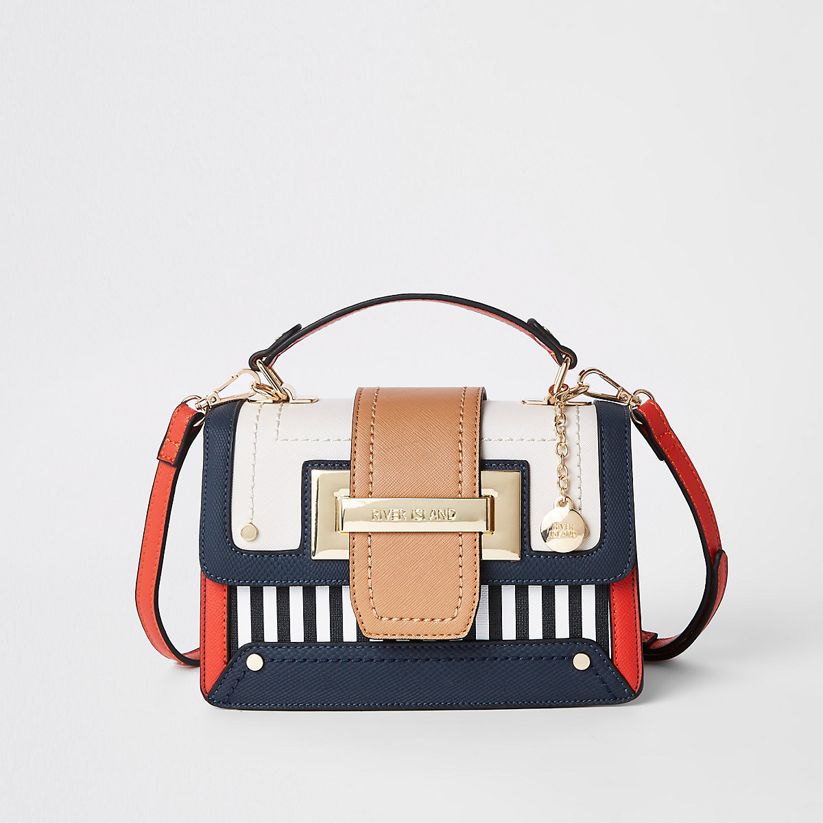 Navy stripe contrast satchel bag