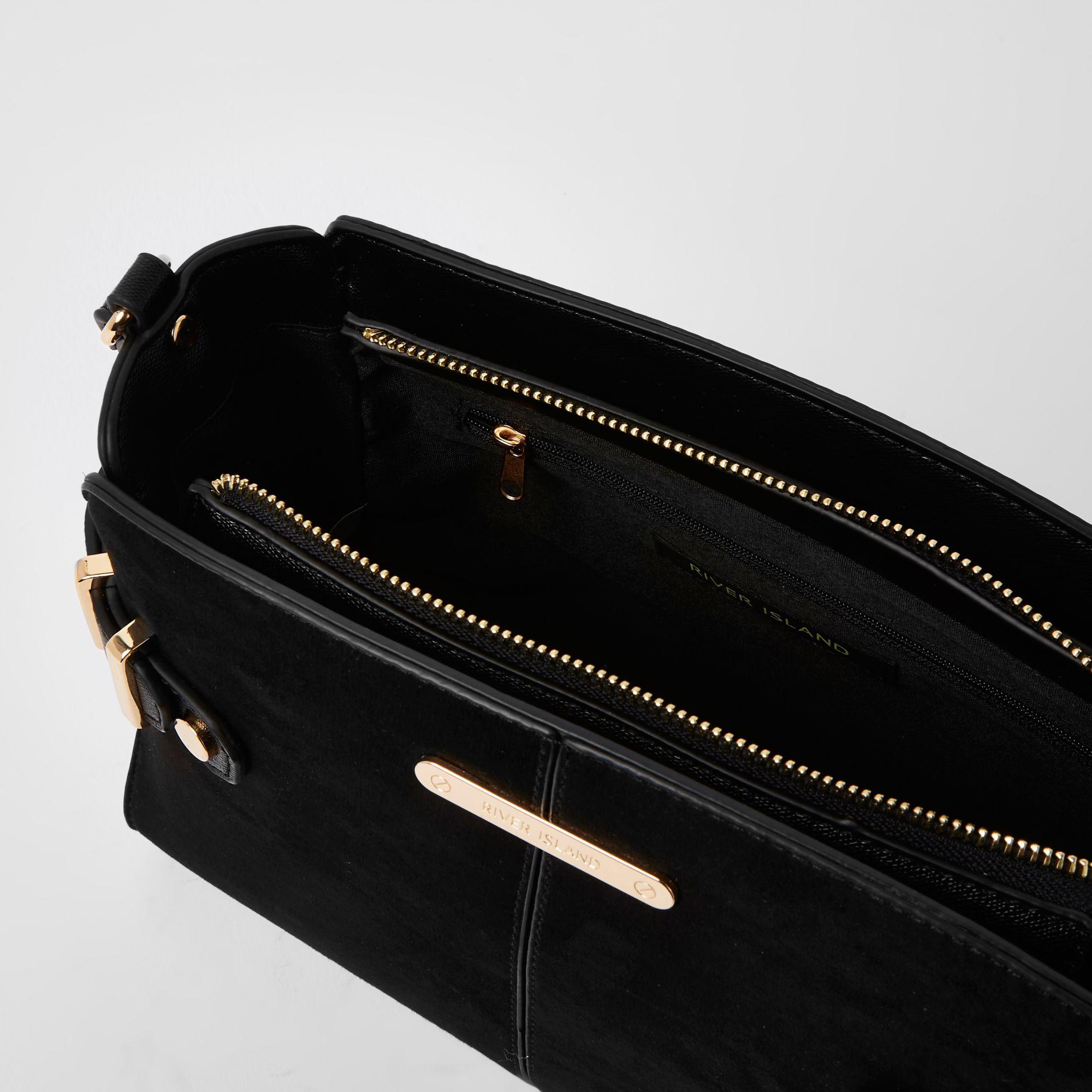5888639972 River Island Black tab side cross body bag at £37
