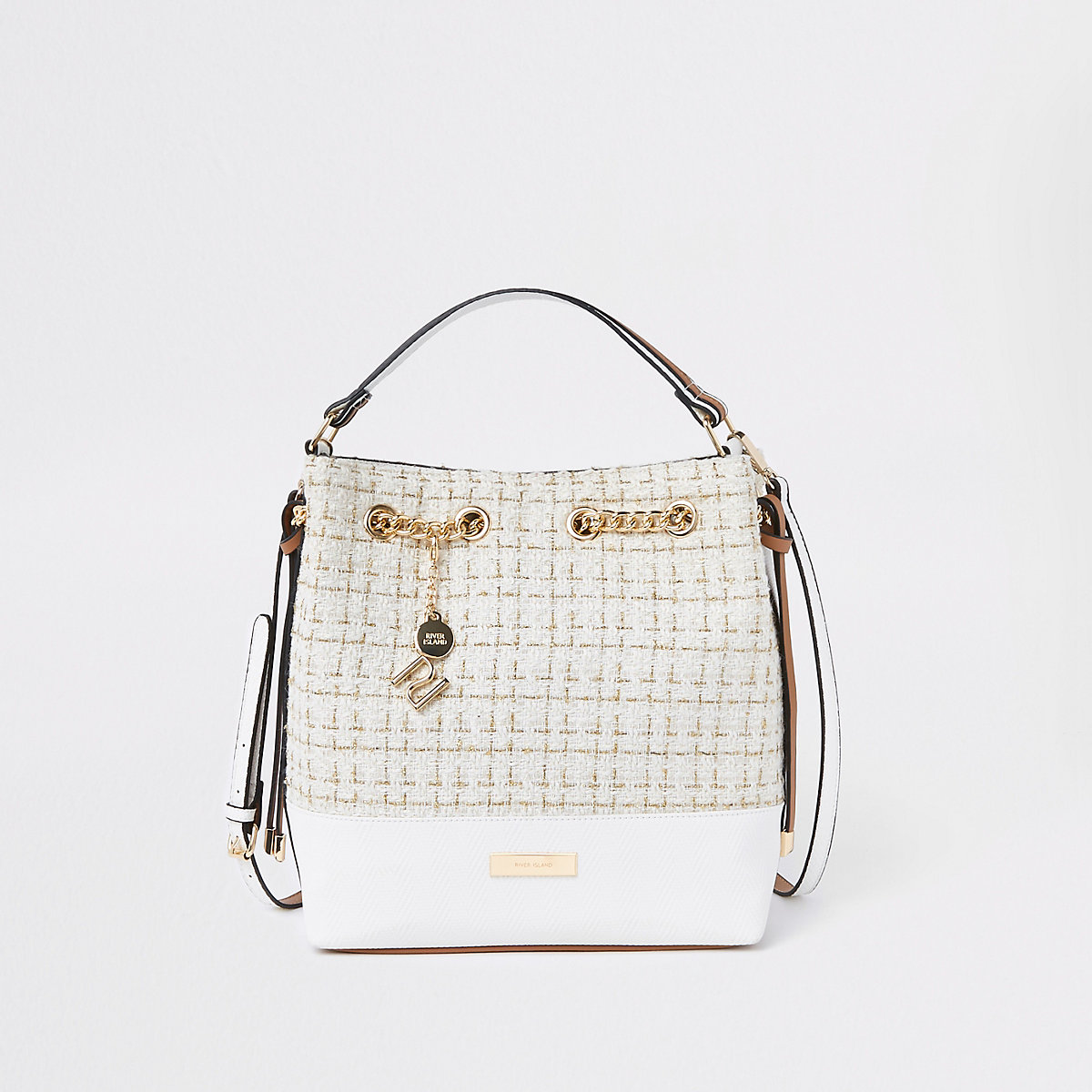 Cream boucle grab handle bucket bag