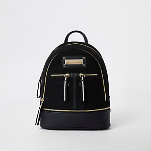 Black mini zip pocket backpack