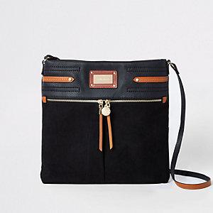 Zwarte messengertas met contrasterende rand