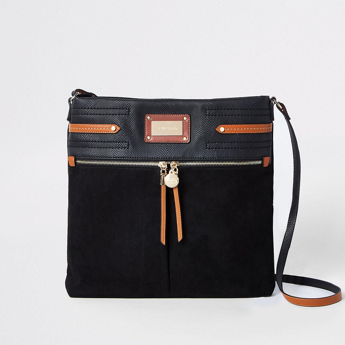 Schwarze Messenger-Tasche mit Kontrastnaht