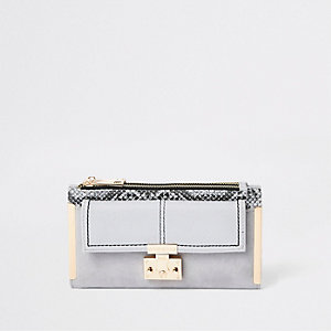 Grey snake lock front fold out purse