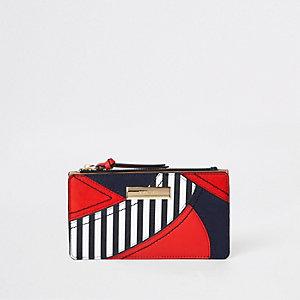 Rood gestreepte smalle portemonnee met uitsnede en flap