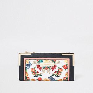 Witte portemonnee met uitsnede en bloemenprint