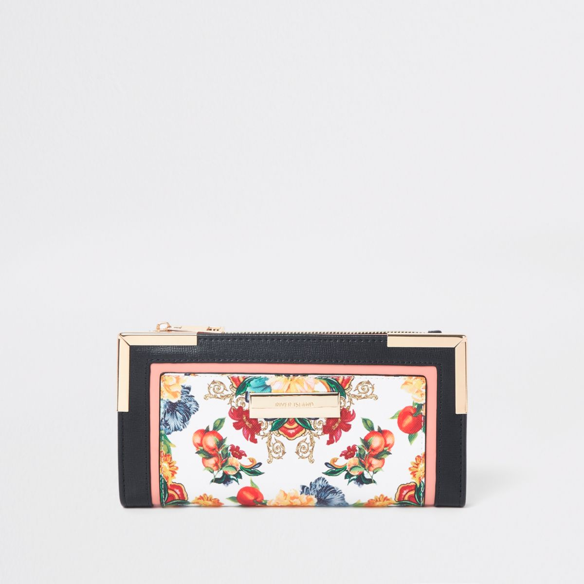 White floral cutabout foldout purse