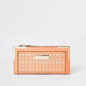 Coral laser cut foldout purse