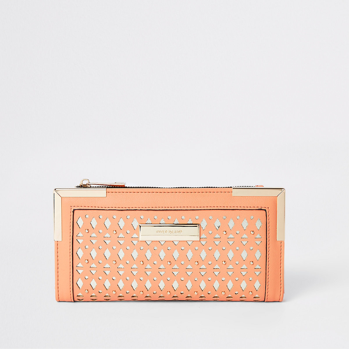Coral laser cut foldout purse