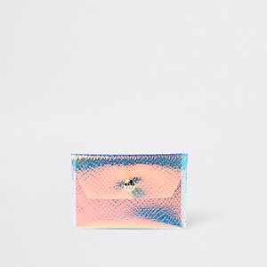 Blauwe iriserende mini-portemonnee met RI-logo