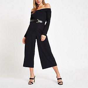 Schwarzer, gerippter Bardot-Overall mit weitem Bein