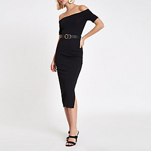 Black ribbed bardot bodycon midi dress