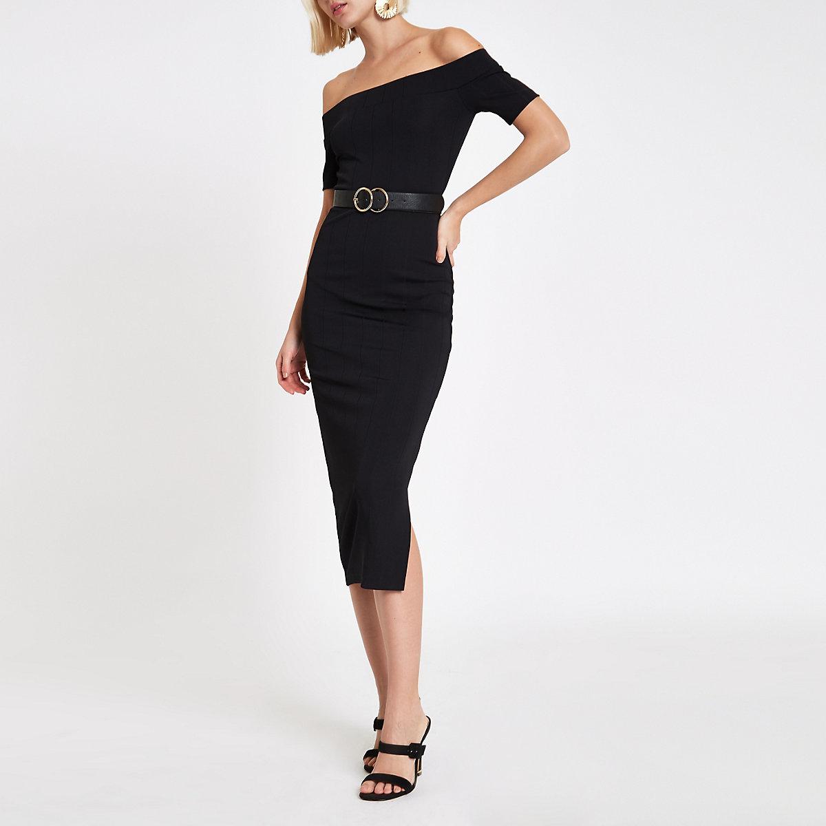 Black ribbed bardot bodycon midi dress