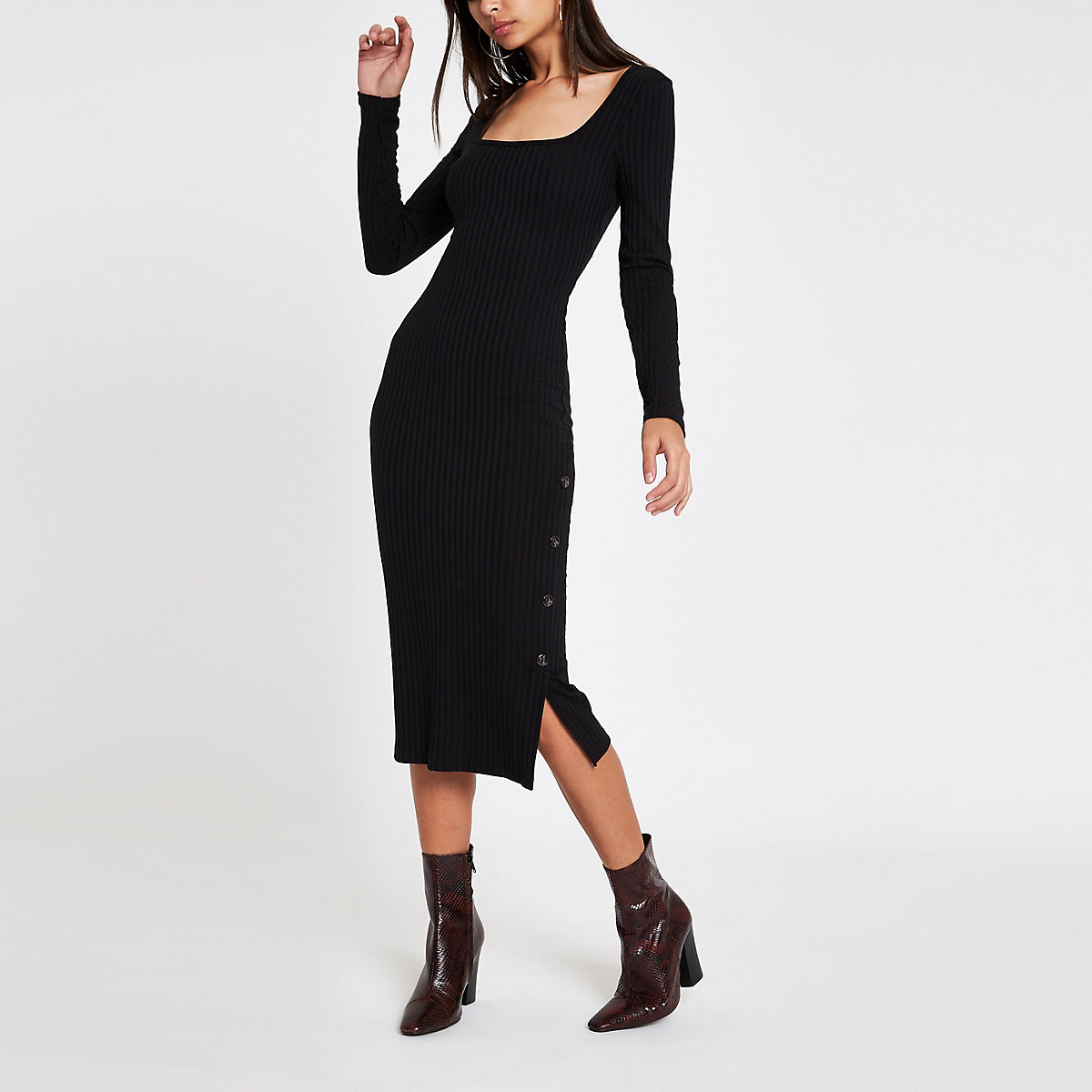 Black ribbed square neck bodycon midi dress