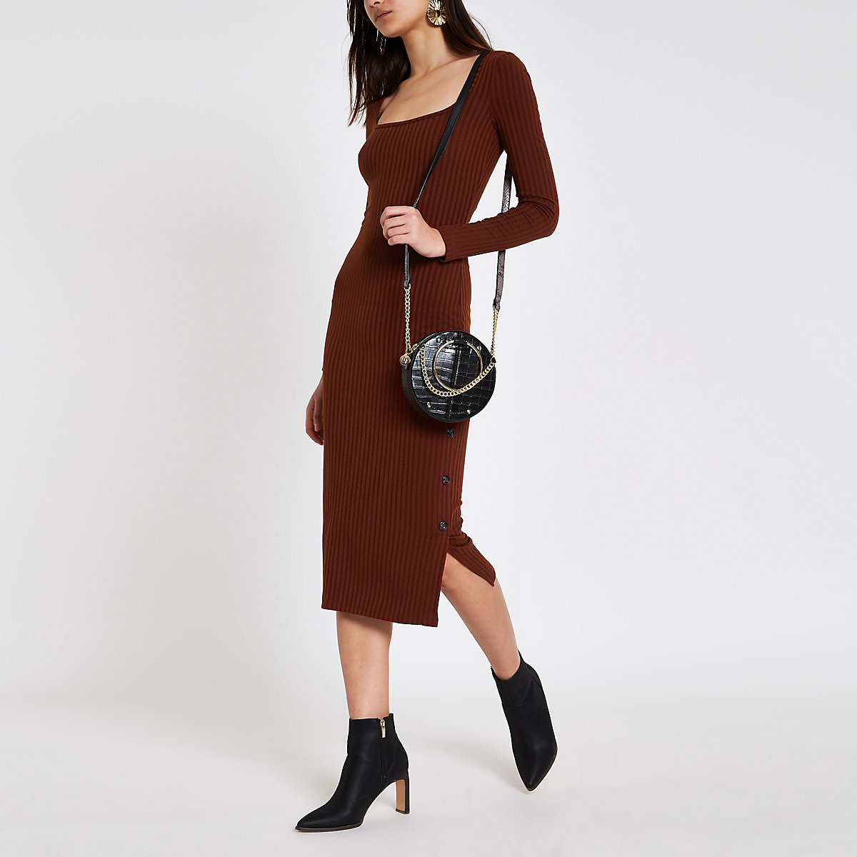 Dark red rib square neck bodycon midi dress