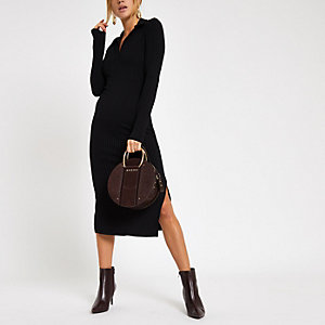 Black ribbed collar bodycon midi dress