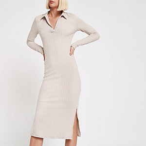 Light grey ribbed collar bodycon midi dress