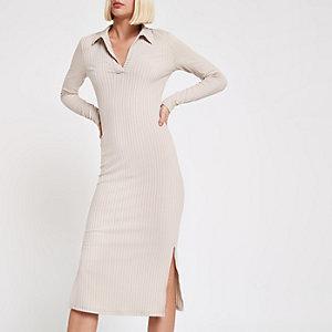 Light grey ribbed collar bodycon midi dress