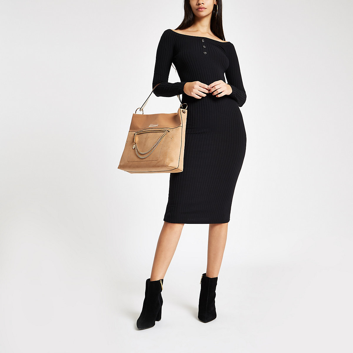 Black scoop neck ribbed bodycon midi dress