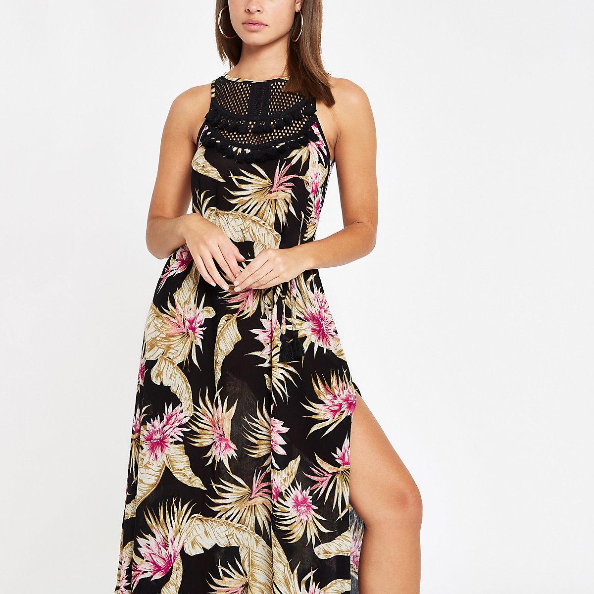 Black palm print tassel trim beach dress