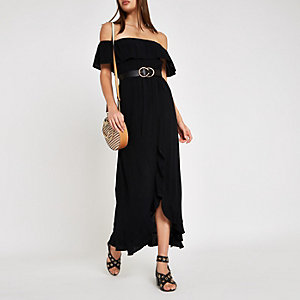 Robe longue Bardot noire froncée
