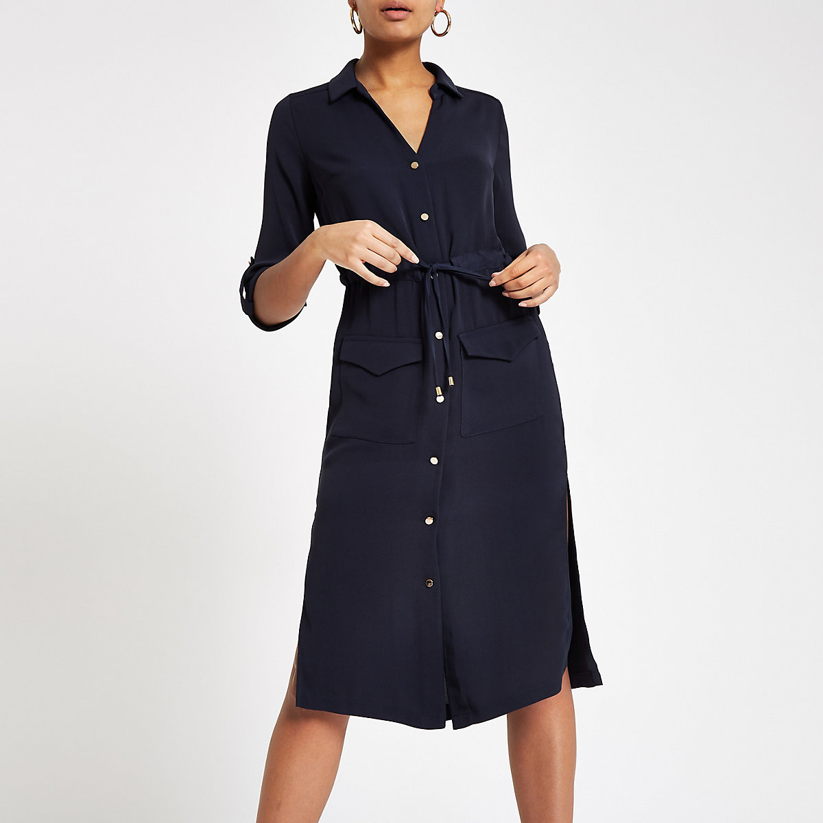 Navy tie waist midi shirt dress