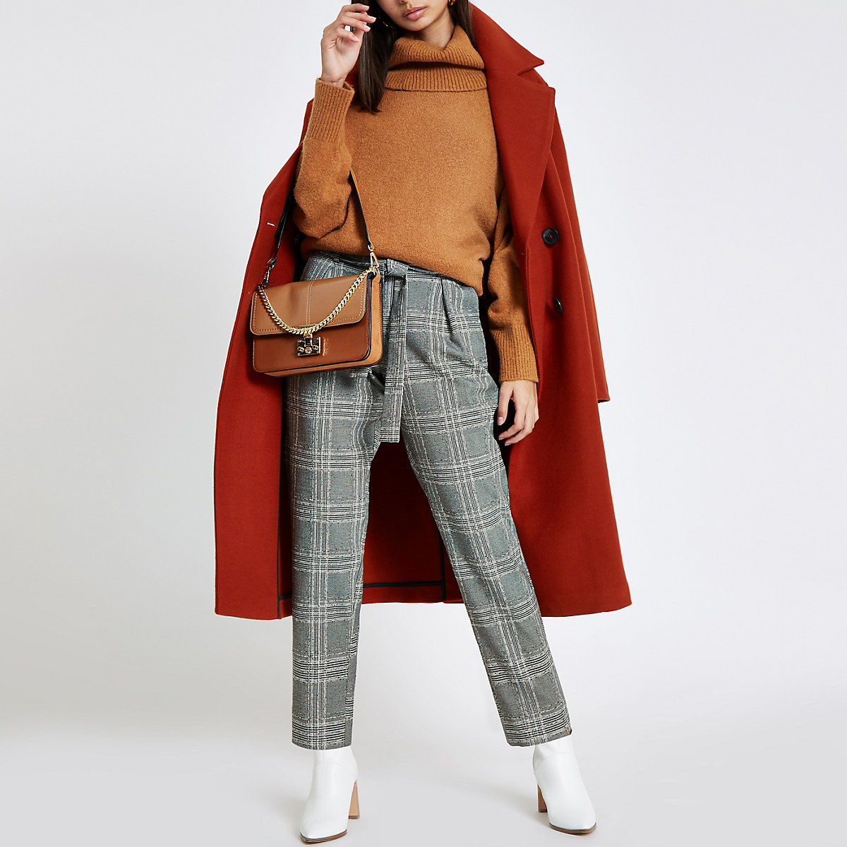 Black check belted tapered pants