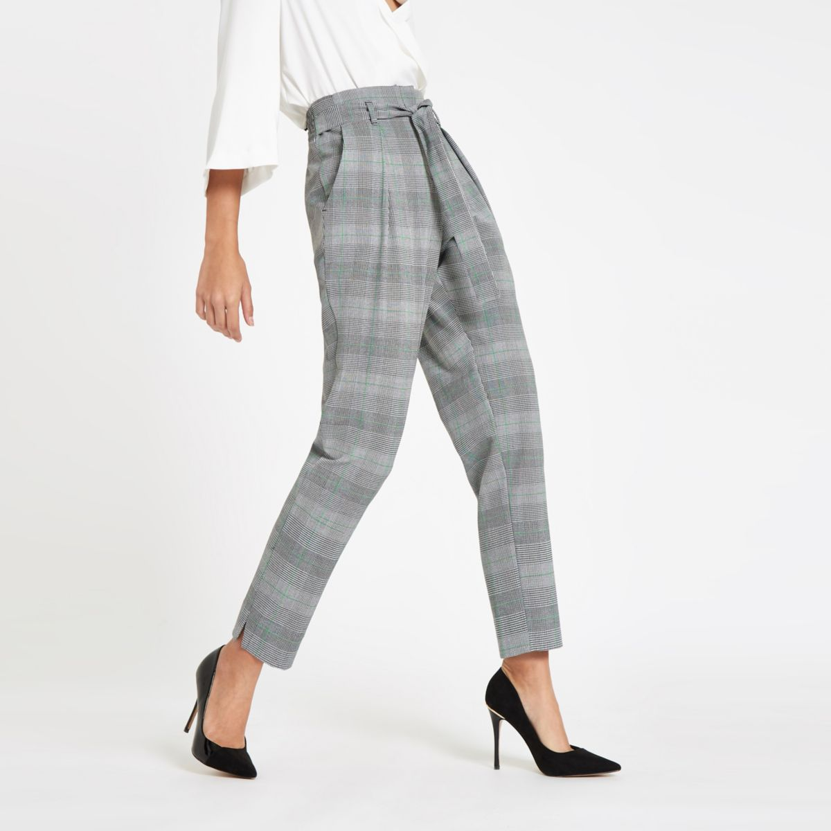 Grey check belted tapered pants