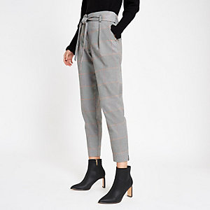 Orange check tie waist trousers