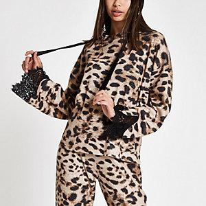 Brown brushed leopard print lace trim hoodie
