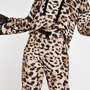 Brown leopard print loungewear joggers