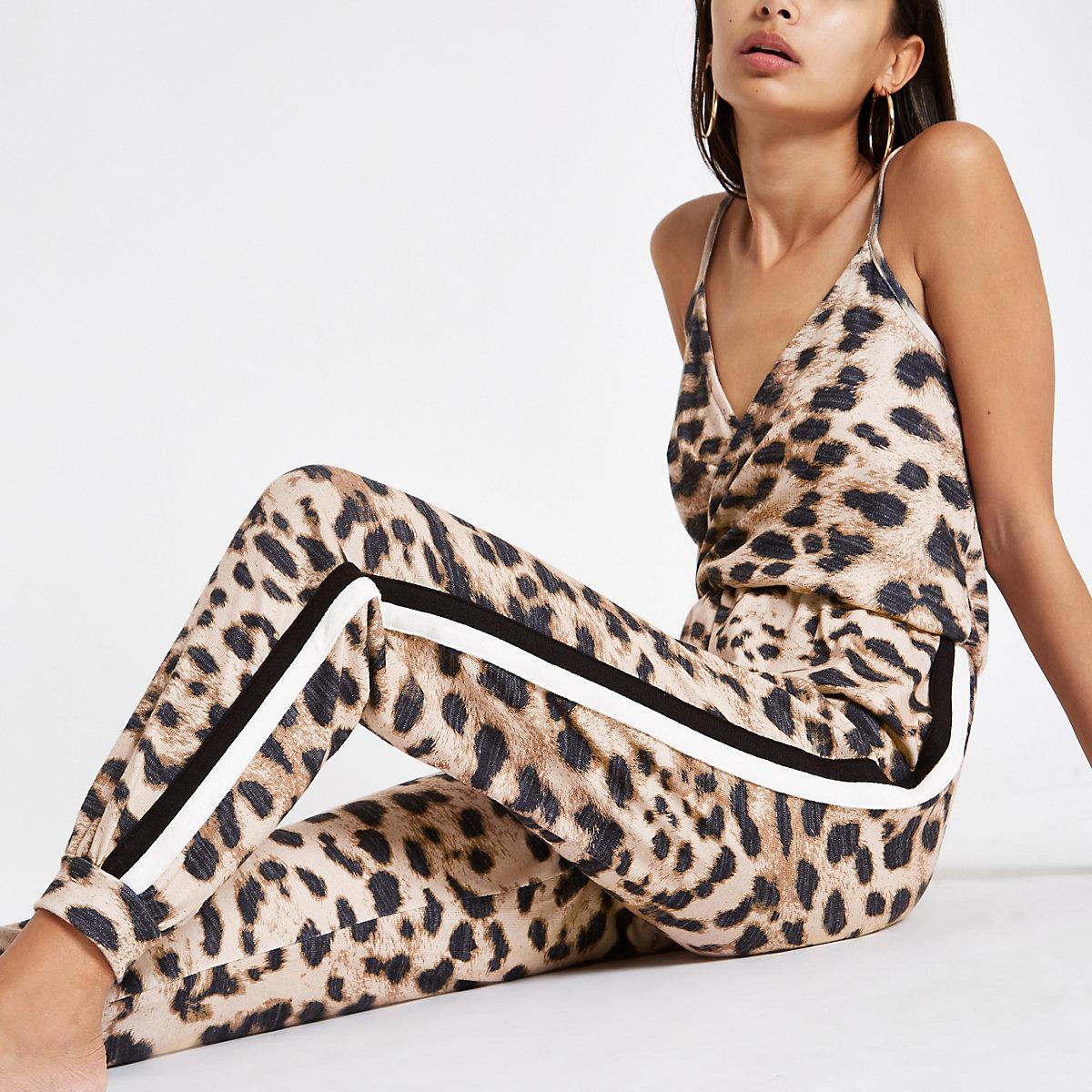 Brown leopard print loungewear jumpsuit