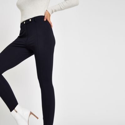 Navy Button Ponte Skinny Trousers by River Island
