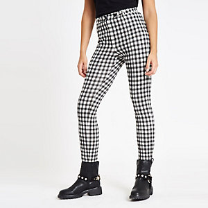 Black gingham skinny ponte pants