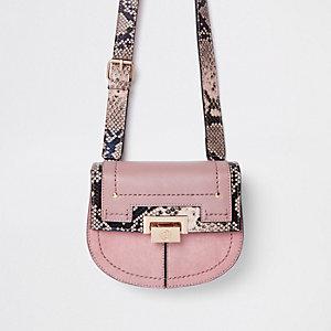 Pink snake print lock front beltbag