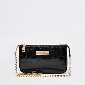 Zwarte min-schoudertas met krokodillenprint