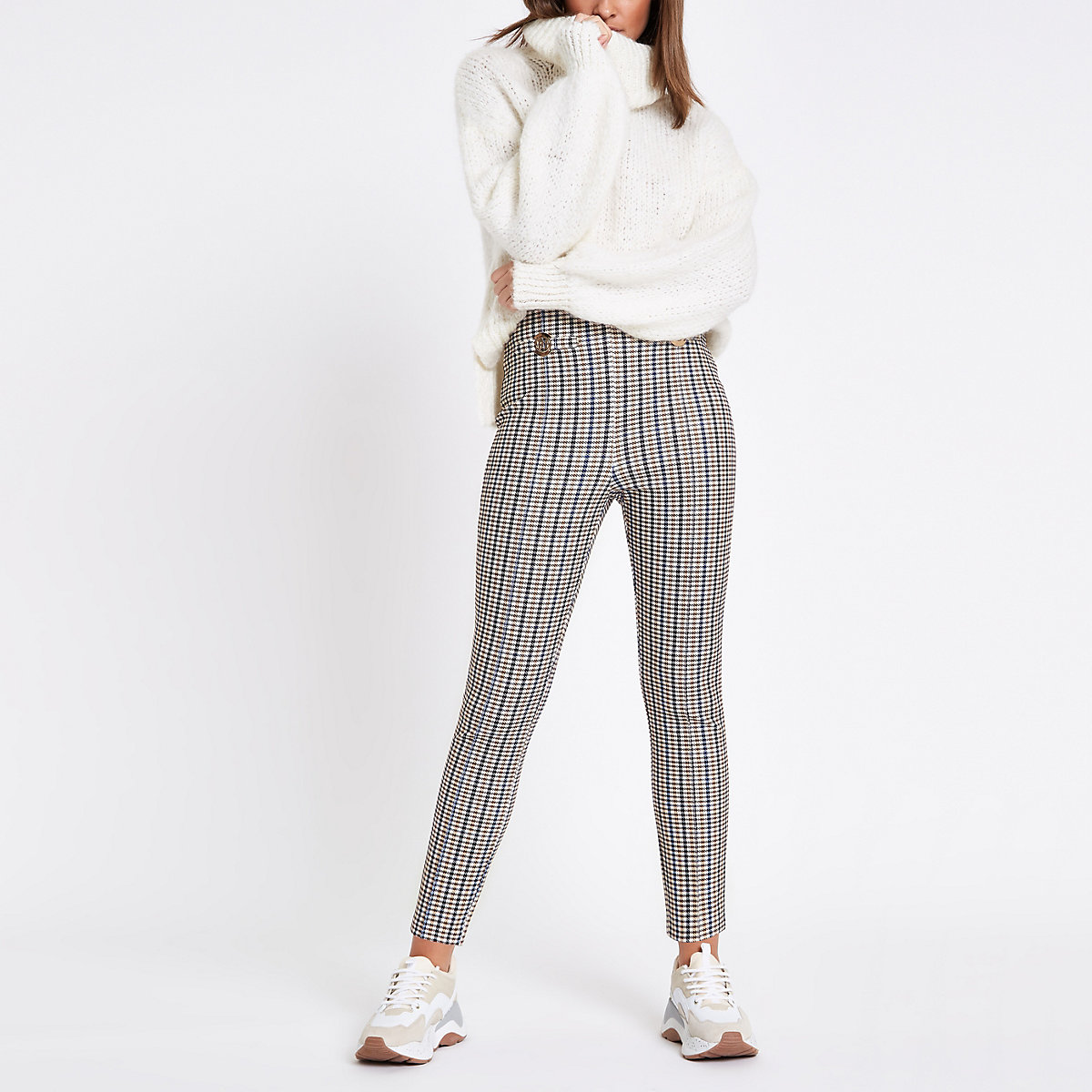 Brown ponte check RI leggings