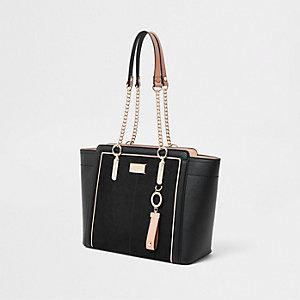 Schwarze Tote Bag mit Kettengriff