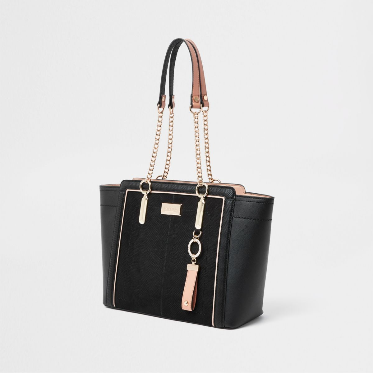 Black winged chain handle tote bag