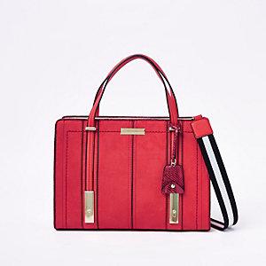 Rode hoekige handtas van imitatieleer