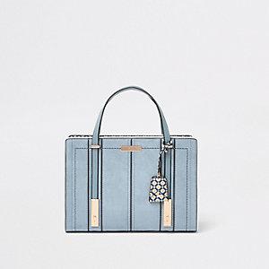Lichtblauwe handtas van imitatieleer