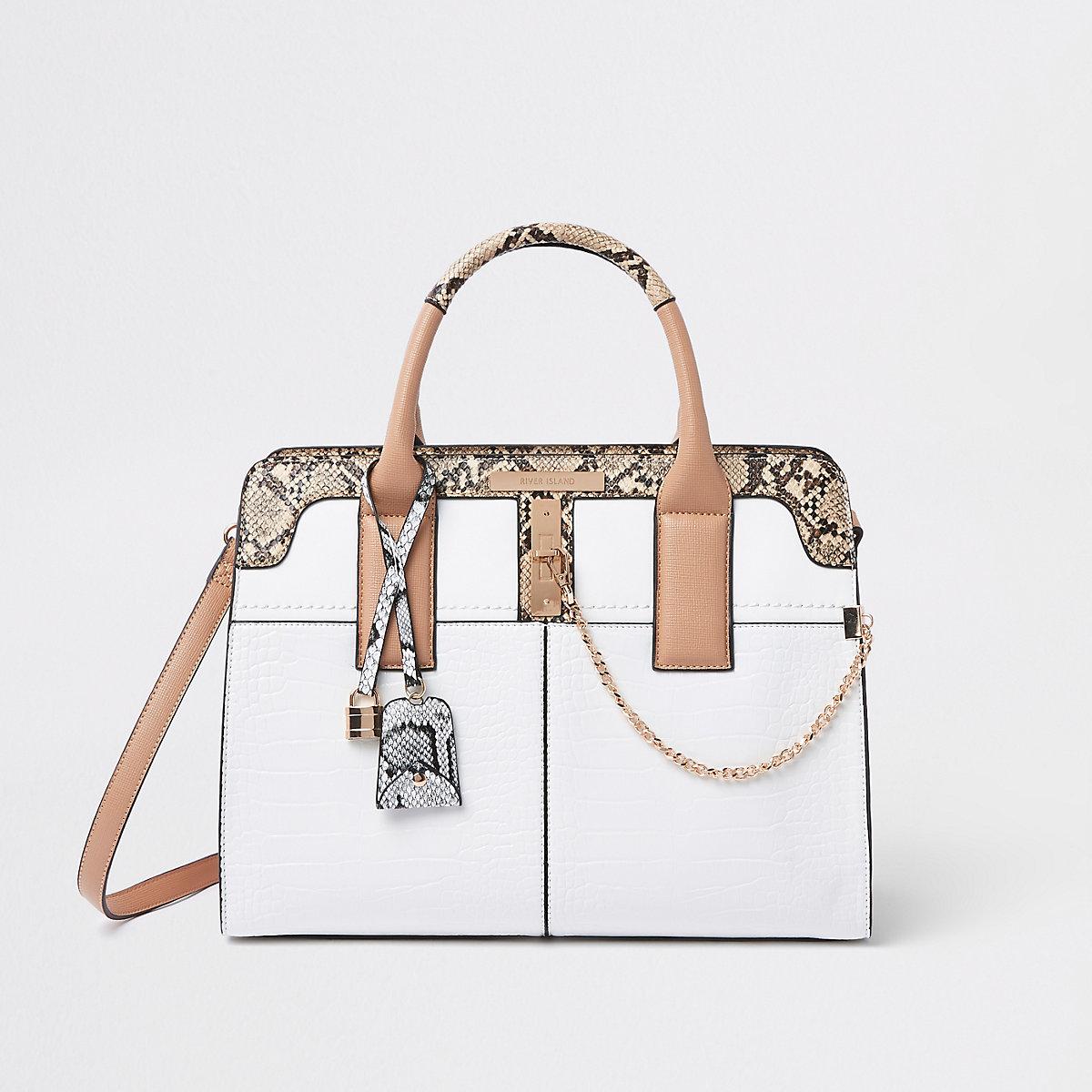 White lock front croc tote bag