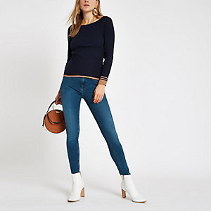Navy tipped boat neck top