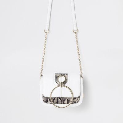 White Ring Front Cross Body Bag by River Island