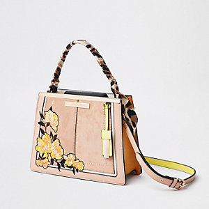 Light pink embroidered top handle tote bag