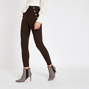Dark brown button detail skinny trousers