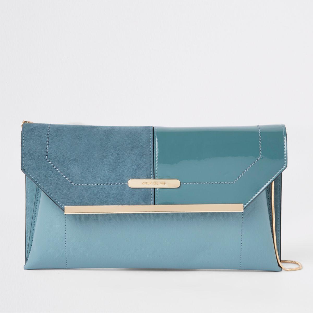 Blue envelope clutch bag