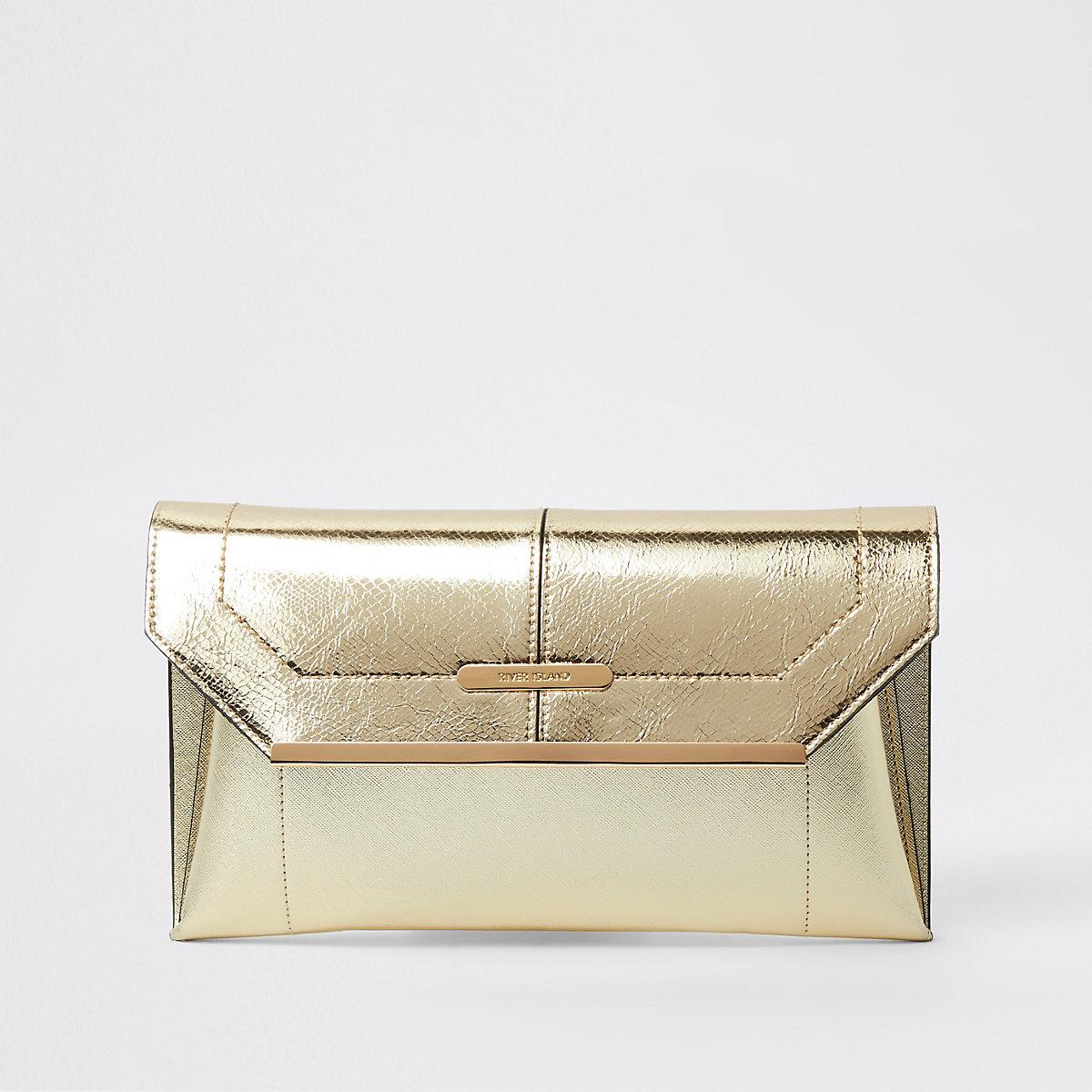 Gold metallic envelope clutch bag