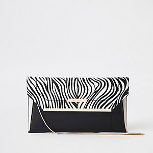 Black zebra print clutch bag