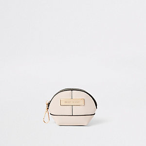 Cream mini oval zip coin pouch
