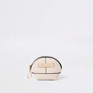 Cream mini oval zip coin pouch